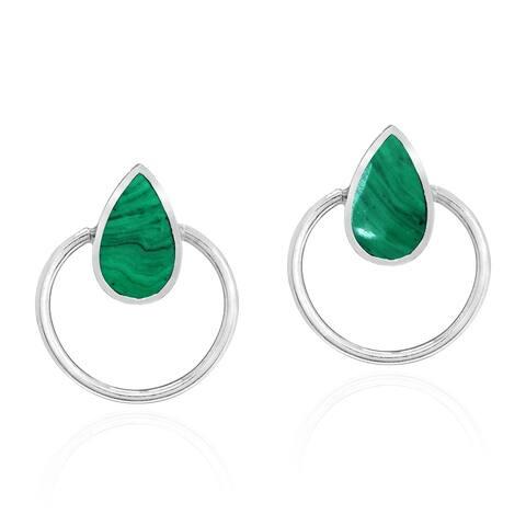 Handmade Cute Teardrop Stone Inlay Sterling Silver Circle Stud Earrings (Thailand)