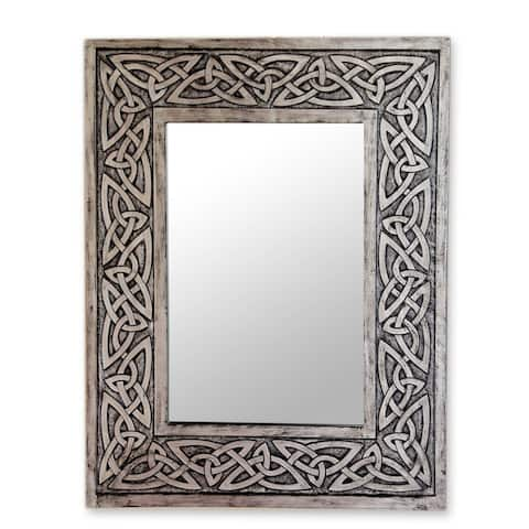 Handmade Leather Wall Mirror Continuity Silver Hand Tooled (Peru)