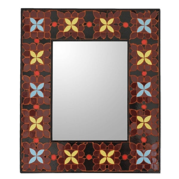Ceramic Wall Mirror Handmade Mosaic Land of the Lily - N/A
