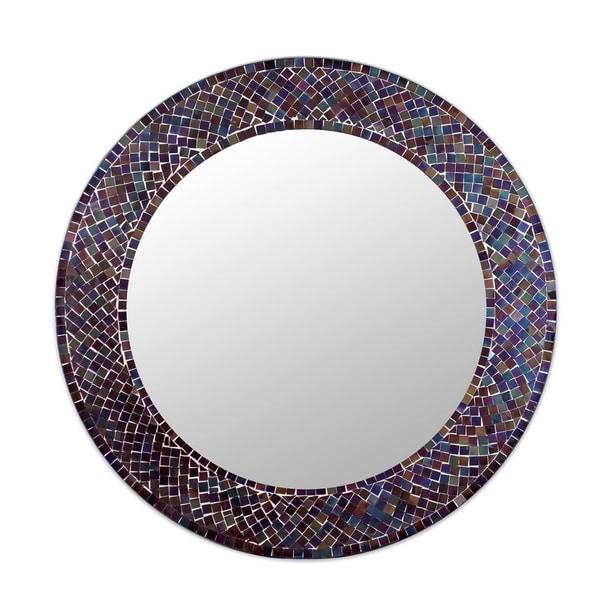 Handmade Amethyst Halo Glass Mosaic Wall Mirror (India) - N/A