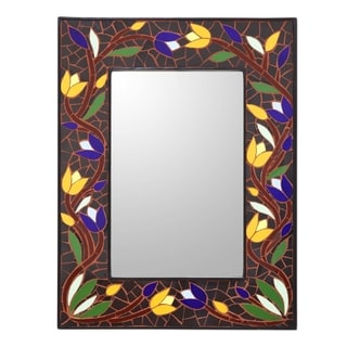 Ceramic Tile Mosaic Wall Mirror Tantalizing Tulips - N/A