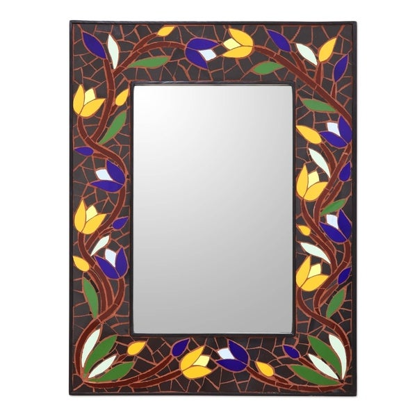 Ceramic Tile Mosaic Wall Mirror Tantalizing Tulips