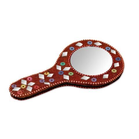 Handmade Festive Reflection Embellished Hand Mirror (Guatemala)