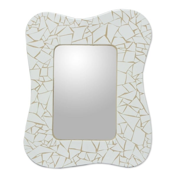 Fair Trade Mosaic Ceramic Mirror, White Waves