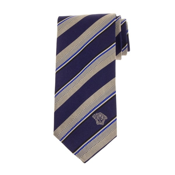 Versace Mens Stripe Silk Tie