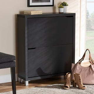 Baxton Studio Contemporary Shoe Storage Cabinet with 4 Fold-Out Racks