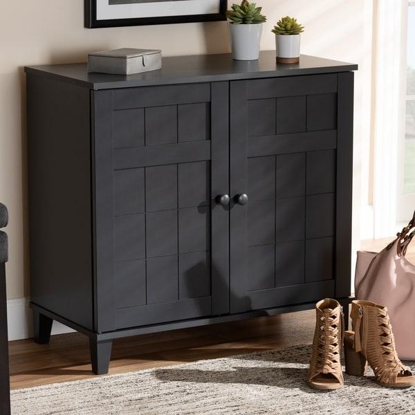 Shop Baxton Studio Contemporary 4 Shelf Grey Wood Shoe