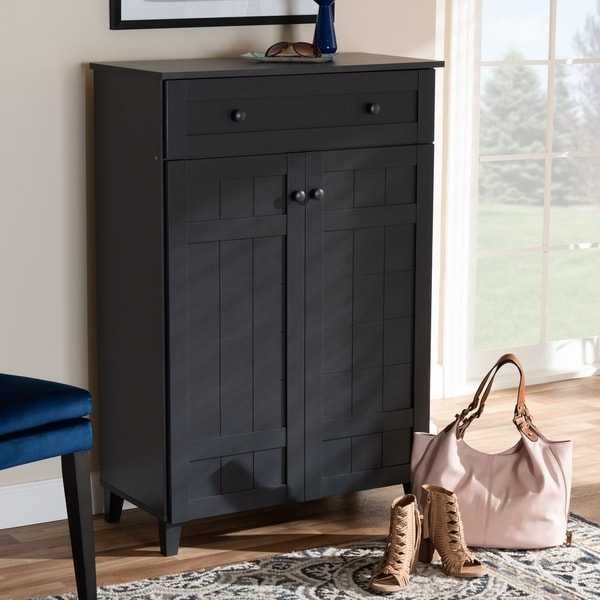 Copper Grove Bergzabern Dark Grey Wood 5-shelf Shoe Storage Cabinet with Drawer