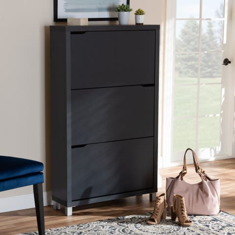 Contemporary Shoe Storage Cabinet With 6 Fold Out Racks
