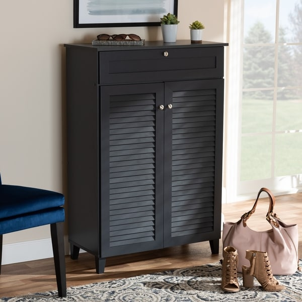 Contemporary 5-Shelf Wood Shoe Storage Cabinet with Drawer