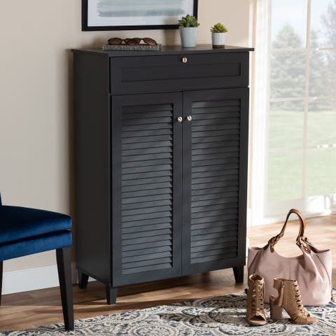 Coolidge Contemporary 5-Shelf Wood Shoe Storage Cabinet with Drawer