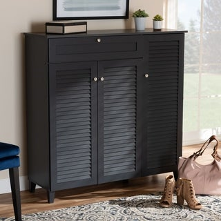 Baxton Studio Contemporary 11-shelf Wood Shoe Storage Cabinet with Drawer