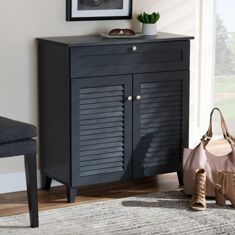 Contemporary 4 Shelf Wood Shoe Storage Cabinet With Drawer