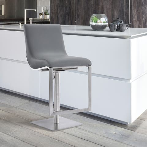Armen Living Victory Swivel Barstool in Steel and Grey Faux Leather