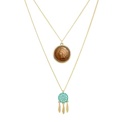 Indian Head Penny Coin Mini Dream Catcher Double Chain Necklace