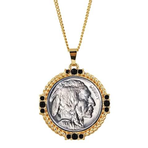 Buffalo Nickel Medallion Goldtone Necklace Pendant