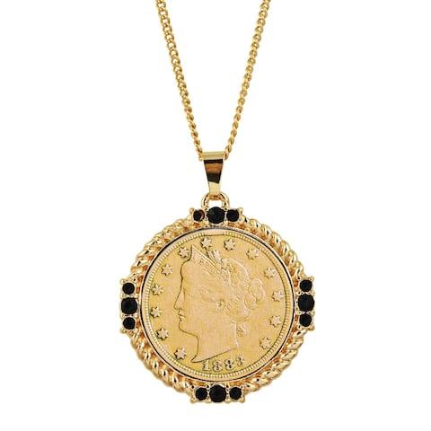 Gold Layered Liberty Nickel Medallion Goldtone Necklace Pendant