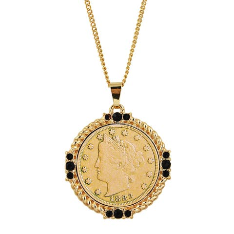 Gold Layered Liberty Nickel Medallion Goldtone Necklace Pendant