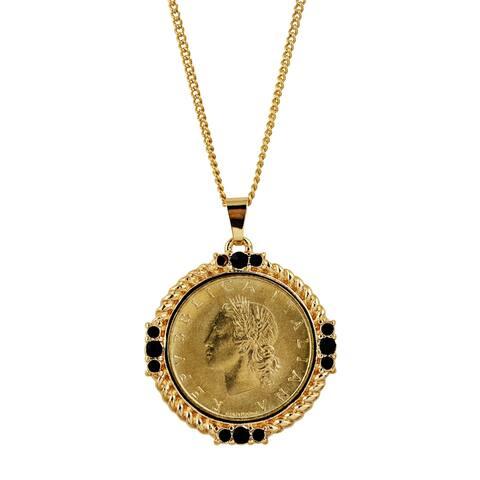 Italian 20 Lira Coin Medallion Pendant Necklace
