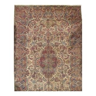Pasargad Ivory Wool Genuine Antique Persian Lavar Kerman Rug - 11'2 x 18'6