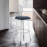 """Armen Living Cherie Contemporary 26"""" Counter Height Barstool in Brushed Stainless Steel Finish and Black Faux Leather"""