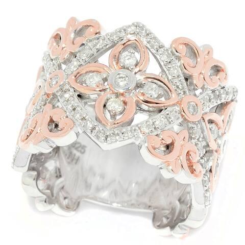 Michael Valitutti Palladium Silver Diamond Fleur-de-lis & Flower Wide Band Ring