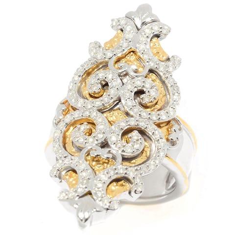Michael Valitutti Palladium Silver Diamond Filigree Elongated North-South Ring