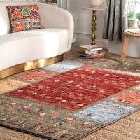 nuLOOM Marje Quilted Blocks Nature Area Rug