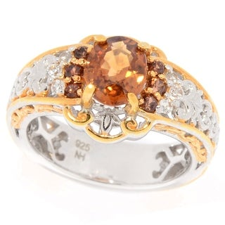Michael Valitutti Palladium Silver Brown Chocolate White Zircon Cocktail Ring