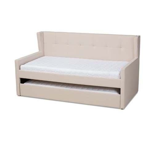 Baxton Studios Giorgia Fabric Wood Wingback Trundle Daybed