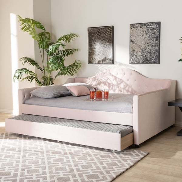 Copper Grove Koziatyn Contemporary Velvet Daybed with Trundle. Opens flyout.