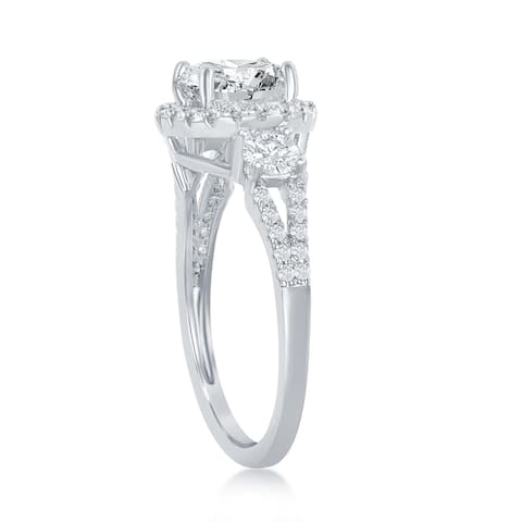 La Preciosa Silver Tone Halo Round Center 7x7mm Cubic Zirconia Bridal Engagement Band Ring