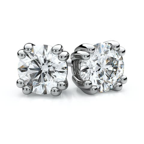 Platinum Double Prong Round Diamond Stud Earrings, 1/2 ct. t.w. (G-H / I1)
