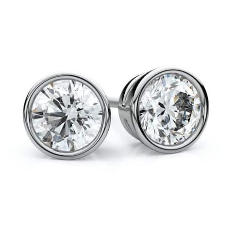 Platinum Bezel Set Round Diamond Stud Earrings, 1.40 ct. t.w. (J-K / SI3)