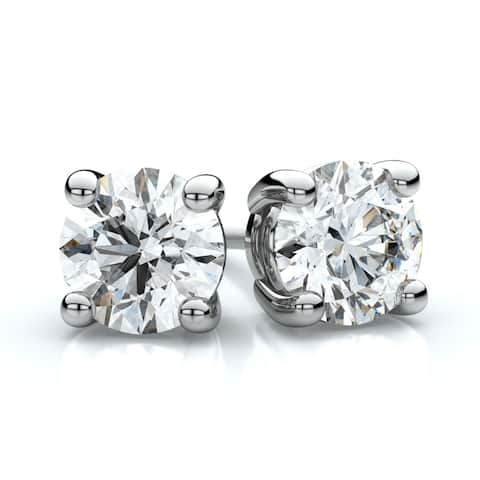 Platinum Prong Set Round Diamond Stud Earrings, 2 ct. t.w. (G / I1)
