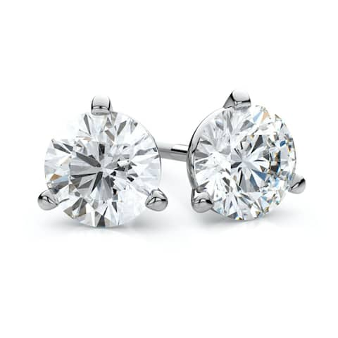 Platinum Martini Set Round Diamond Stud Earrings, 2 ct. t.w. (G / I1)