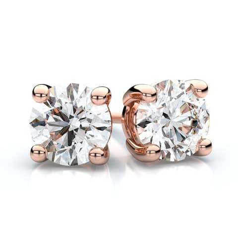 14K Rose Gold Prong Set Round Diamond Stud Earrings, 2 ct. t.w. (G / I1)