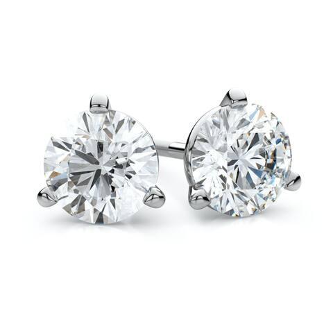 18K White Gold Martini Set Round Diamond Stud Earrings, 2 ct. t.w. (L-M / I1)
