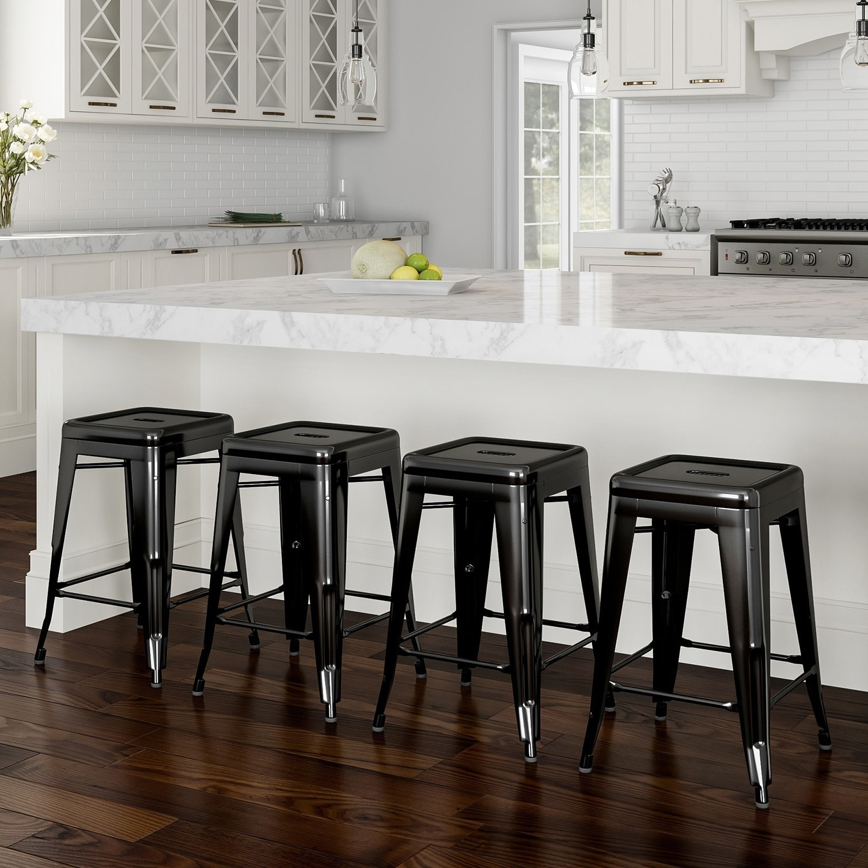 Superb Porch Den Halite Metal 24 Inch Farmhouse Backless Bar Stool Set Of 4 Uwap Interior Chair Design Uwaporg