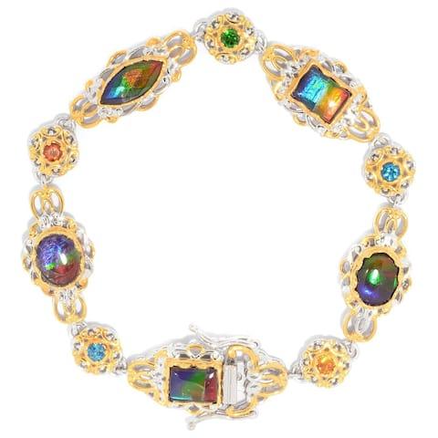 Michael Valitutti Palladium Silver Ammolite Triplet, London Blue Topaz & Multi Gemstone Tennis Bracelet