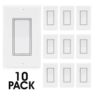 Maxxima 3 Way On/Off Switch, White Decorative Rocker Switch, Wall Plates Included (10 Pack)