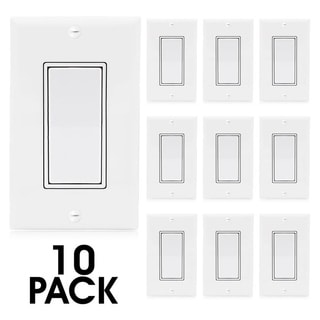 Maxxima Single Pole On/Off Light Switch, Decorative White Rocker Switch, Wall Plates Included (10 Pack)