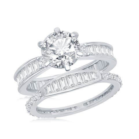 La Preciosa Silver Tone Center Six-Prong Round 8.5x8.5mm with Baguette Cubic Zirconia Bridal Engagement 2pc Ring Band Set