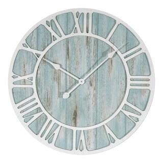The Gray Barn Cocklebur 23.5-inch Round Blue Quartz Coastal Wall Clock (As Is Item)
