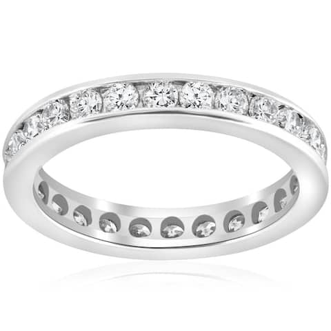 Pompeii3 Platinum 1 1/2 Ct TDW Diamond Eternity Ring Channel Set Womens Wedding Band