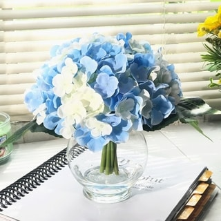 Enova Home 10 Stem Blue and Cream Silk Hydrangea Flower in Round Clear Glass Vase with Faux Water - blue and cream
