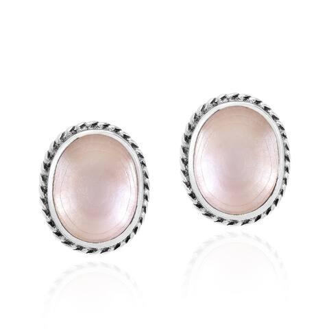 Handmade Elegant Ovals with Sterling Silver Border Stud Earrings (Thailand)