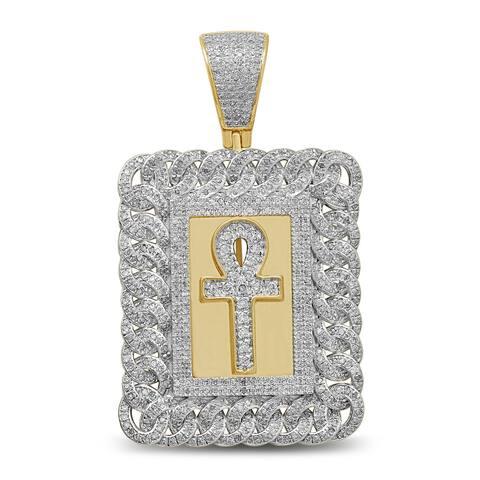 Unending Love Men's 10K Yellow Gold 1-1/2 Cttw Diamond Pendant Necklace