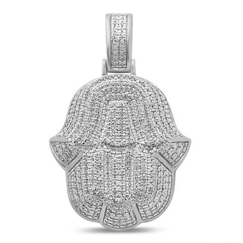 Unending Love Men's 10K Gold 3/4 Cttw Diamond Hamsa Hand Pendant Necklace