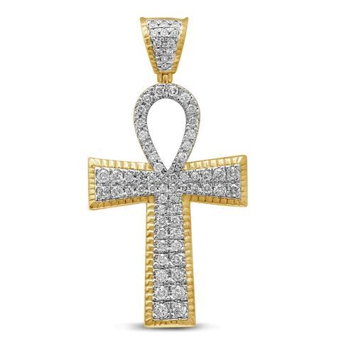 Unending Love Men's 10K Yellow Gold 1-3/4 Cttw Diamond Cross Pendant Necklace